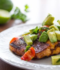 Chili-Rubbed Salmon with Avocado Salsa- on your plate in 20 minutes! Skip the brown sugar, and use 1 avocado to serve 4.