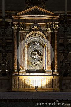 The fantastic church of Jesus and Mary in Rome. Via del Corso. Italy. In detail, the golden tabernacle.