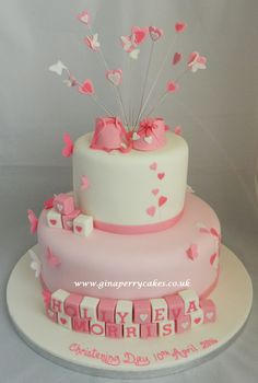 Christening cake for a baby girl withButterflies, Hearts & Pink shoes ☺