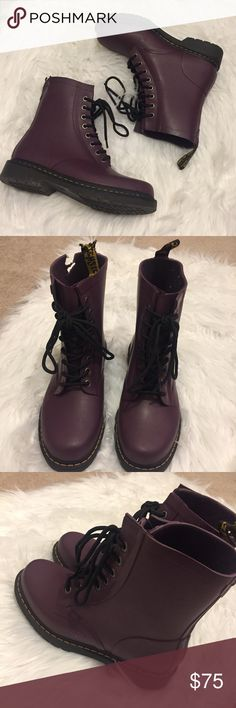Doc Marten Purple Airwalks These Doc Martens are the bees knees. They have never been worn but my dog got a hold of them. The right boot Airwalk strap is ripped and about 3/4 inch of the rubber of the boot is ripped. These shoes are in otherwise fantastic condition. These are a size 8 shoe. I will consider offers on these because of condition but will also send counteroffers if they are a little too low. These shoes are unique. Thank you in advance for understanding 💖. Dr. Martens Shoes…