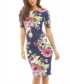 Navy & Pink Floral Sheath Dress