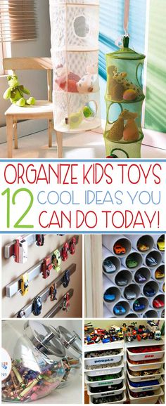 Cool toy organization ideas you can do today. Easy to do and inexpensive, these ideas will finally keep your kids toys off the floor!