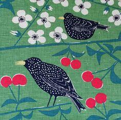 Fabric remnant VINTAGE SWEDEN Marianne Westman design BIRDS CHERRIES Unused NICE   eBay