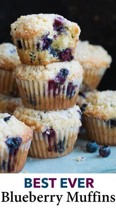 Blueberry Muffins – the best you'll ever taste! They're soft and fluffy with a perfectly moist crumb, they're deliciously flavorful and jam packed with juicy blueberries, and that buttery crumb topping garnished with sugar crystals is the perfect crowning Homemade Blueberry Muffins, Blueberry Recipes, Blueberry Crumb Muffins, Gourmet Recipes, Dessert Recipes, Desserts, Simple Muffin Recipe, Baking Muffins, Easy Food To Make