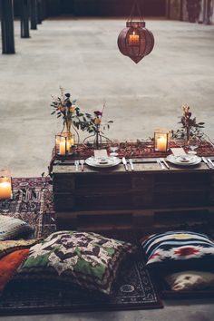 we love the muted but patterned and colorful table settings for this bohemian gathering