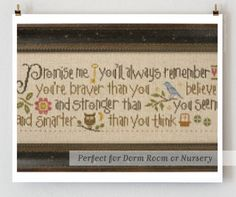 counted cross stitch pattern : Promise Me Lizzie Kate Winnie the Pooh graduation dorm new baby embroidery