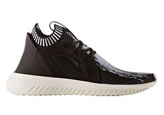 The latest Tubular x Primeknit teaming up features a Core Black upper and a White midsole on the adidas Tubular Defiant Primeknit.