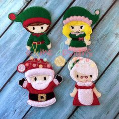 Santa & Friends Finger Puppet Set Embroidery by EandMeDesigns