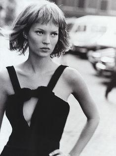 Kate Moss photographed by Peter Lindbergh for Harper's Bazaar US, September 1994.