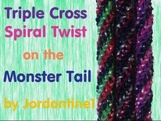 Monster Tail TRIPLE CROSS SPIRAL TWIST Bracelet. Designed and loomed by jordantine1. Click photo for YouTube tutorial. 05/11/14.