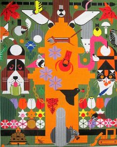 An omg moment neat would love to do this needlepoint,.... Charley Harper Needlepoint<BR>Biodiversity in the Burbs (In Stock)