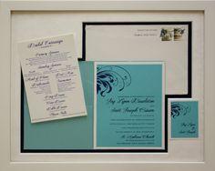Custom Framed wedding invitation. Custom design by Art and Frame Express in New Jersey.
