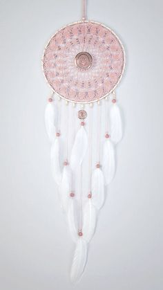 Large Pink Ash Dream Catcher Crochet Doily by DreamcatchersUA: