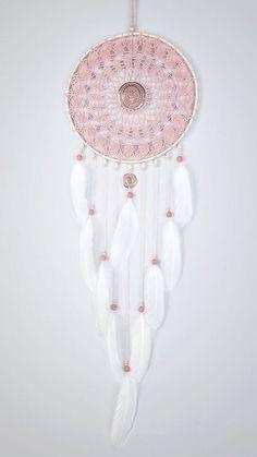 Large Pink Ash Dream Catcher Crochet Doily by DreamcatchersUA: