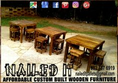 Table and stool sets. Suitable fot indoor and outdoor use. Affordable, custom built, wooden furniture. Designed by you, built by us. For more info, contact 0834376919 or naileditpallets@gmail.com #barfurniture #outdoorfurniture #patiofurniture #palletbarfurniture #mancavefurniture #pallettableandchairs #nailedpalletfurnituredurban #naileditcustombuiltpalletfurniture #custompalletfurniture #palletfurniture #palletfurnituredurban #furniturepallet