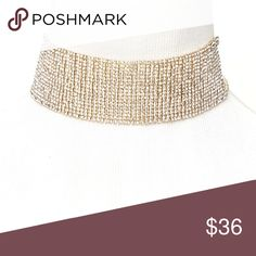 "RHINESTONE GLAM CHOKER 18 row multilayer necklace Clear/Gold or Clear/Silver Cutout side detail 11.25"" length, 3.5"" extender; 1.5""wide. Price firm. Style Link Miami Jewelry Necklaces"
