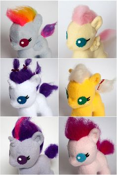 Mane Six Baby Pony Plush Complete Set by SamanthaJMason on Etsy, £200.00 <--- omg baby Fluttershy is THE CUTEST