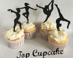 Gimnasta Cupcake Toppers. Gimnasia silueta fiesta por scrapbits