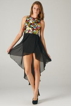 Multi-color Sequins Hi-Lo Dress