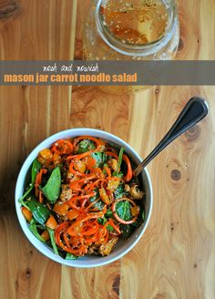 Mason Jar Carrot Noodle Salad w/Sweet Chili Vinaigrette | Nosh and Nourish