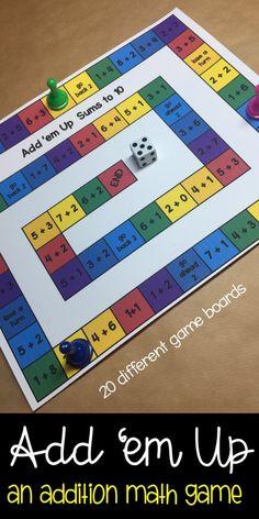 Add 'em Up Addition Board Games math centers kinder, first, second, third grade - Modern Design Math Board Games, Math Boards, Math Games, Math Activities, Preschool Christmas Games, Preschool Games, Math Addition Games, Addition And Subtraction, Math Stations