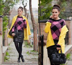 Style Moi Yellow Coat, Sheinside Sweater, Hotic Bag, V Intage Leather Skirt, Braska Brogues