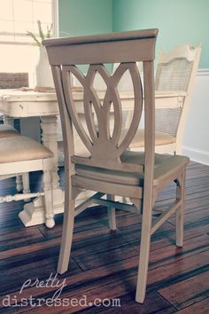 Chair refinished with Annie Sloan Chalk Paint® in Coco with Dark Wax.