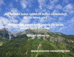 """""""Auf beinahe jedem Gebiet ist es Ihre Leidenschaft,  die Sie retten wird.  Wenn Ihr Ziel ausreichend wichtig für Sie ist,  werden Sie es erreichen.""""  William James / www.esuccess-consulting.com"""
