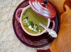 Chef Emily Ellyn's Broccoli Soup with Coconut Milk and Ginger Coconut Milk Soup, Coconut Cream, Rainy Day Recipes, Bisque Soup, Thai Sweet Chili Sauce, Pickled Ginger, Kaffir Lime, Broccoli Soup