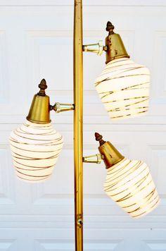 Vintage, 1950s, Floor Lamp, Mid Century Modern, Brass, Lamp, Lighting, Atomic, Retro, Pole Lamp, Eames Era, Gold Spun Shades ..