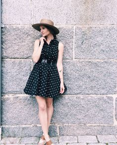 Looking lovely in polka dots. This summer dress looks great with a simple straw hat and fun heels! #ootd