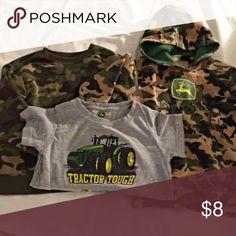 John Deere/Camo kids Set of John Deere camo hoodie, John Deere tee and camo tee by garanimals. Sweatshirts are 4T, tee is 3T. Sizes relative to item, 4T sweatshirts great for comfy fit in 3T. Great items! John Deere Shirts & Tops Sweatshirts & Hoodies