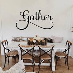 Gather Decal Gather Kitchen Sign Dining Room Wall Decal Gather Wall Decal Dining Room Decal Gather Vinyl Decal Gather Kitchen Decal Kitchen Vinyl Sayings, Kitchen Signs, Vinyl Flooring Kitchen, Dining Room Wall Art, Vinyl Quotes, My Living Room, Sweet Home, New Homes, House