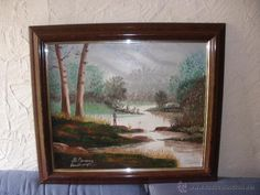 Encantador cuadro al óleo hombre pescando- ideal decoración shabby chic- firmado M. Gimeno