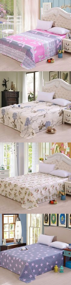 Polyester Bed Linen Flat Bed Sheet Set Pillowcase Pure cotton bed sheet cotton single double 1.2/1.5 / m dormitory Duvet Cover #DoubleBedSheets