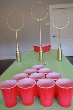 Yes it's basically beer pong, but if you wanted to play with a younger crowd, you could just reward prizes to the team who has the most cups left after a certain number of turns. Get the tutorial at Farm to Fete.