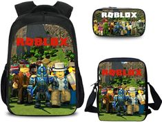 Roblox School Backpack - Lunch Bag - Pencil Case for back to school #robloxschoolbackpack #robloxbackpack #robloxpencilcase #robloxlunchbag #robloxbacktoschool Back To School Backpacks, Kids Backpacks, School Bags For Kids, Kids Bags, Laptop Backpack, Travel Backpack, School Pencil Case, Sharks For Kids, Pencil Bags