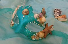 Mermaid mask - masquerade masks £40.00 Masquerade Makeup, Masquerade Prom, Masquerade Masks, Sea Crown, Costume Ideas, Costumes, Blue Mask, Mermaid Outfit, Fancy Dress Accessories
