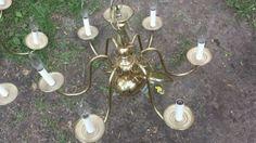 1950's Cast Brass Antique 6 Light Chandelier