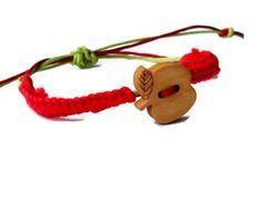 Red apple rustic bracelet Hemp wish bracelet by MiracleFromThreads, $9.50