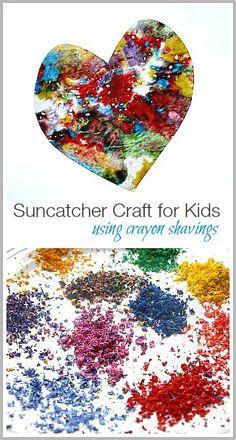 Suncatcher Craft for Kids Using Crayon Shavings ~ http://BuggyandBuddy.com