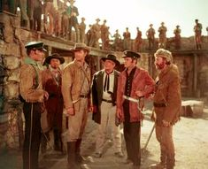 """Sterling Hayden, Arthur Hunnicut, Richard Carlson, and Ernest Borgnine, among others in the cast of """"The Last Command."""" about the Alamo. Alamo Movie, New Jersey, Sterling Hayden, Richard Carlson, Texas Revolution, Ernest Borgnine, Republic Pictures, Movie Titles, Western Movies"""