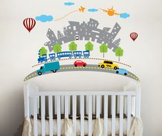 Transportation Scene, Planes, trains, Cars - baby boy Nursery Wall Vinyl.  via Etsy.