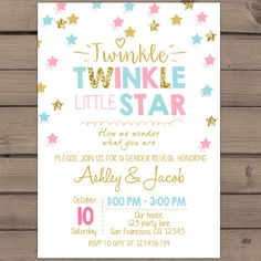 twinkle twinkle litte star gender reveal invitation party invite he or she boy or girl baby shower invitaton coed printable invitation - Free Printable Gender Reveal Party Invitations