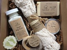 Baby Bath Gift Set - All natural organic baby soap, baby powder, baby balm, cotton washcloth & wooden teether via Etsy