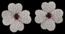 Van Cleef & Arpels 18k white gold diamond and ruby 4 leaf clover earrings.