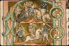 1185-1195. Paris, Bibl. Sainte-Geneviève, ms. 0010, f. 003v - vue 3. Les guerriers de David. Early evidence of surcoat worn over chainmail armour.