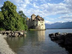 Chillon Castle, an architectural jewel located in the most beautiful setting imaginable - on the shores of Lake Geneva, Switzerland, right at the foot of the Alps. This is the castle beach.