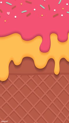 Download premium vector of Waffles with creamy ice cream  mobile phone wallpaper vector by Toon about ice cream, chocolate drip, drip, cream drip, and Story cherry 1226231