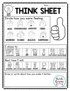 Social Skills 95701560817269637 - Think sheet to use after students have calm down. Great visuals to help students process through emotions and make reflections on their behavior. Classroom Behavior Management, Behaviour Management, Student Behavior, Behavior Plans, Behavior Sheet, Anger Management For Kids, Class Management, Counseling Activities, School Counseling